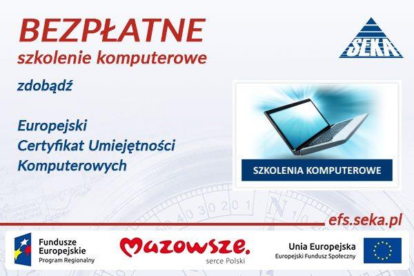 Bezpłatne szkolenia komputerowe ECDL na Mazowszu