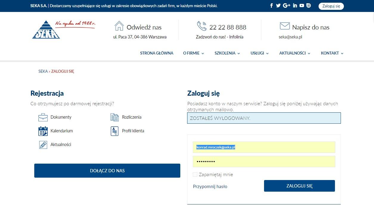 2 Logowanie Do Strefy Klienta Landing Page Rejestracja