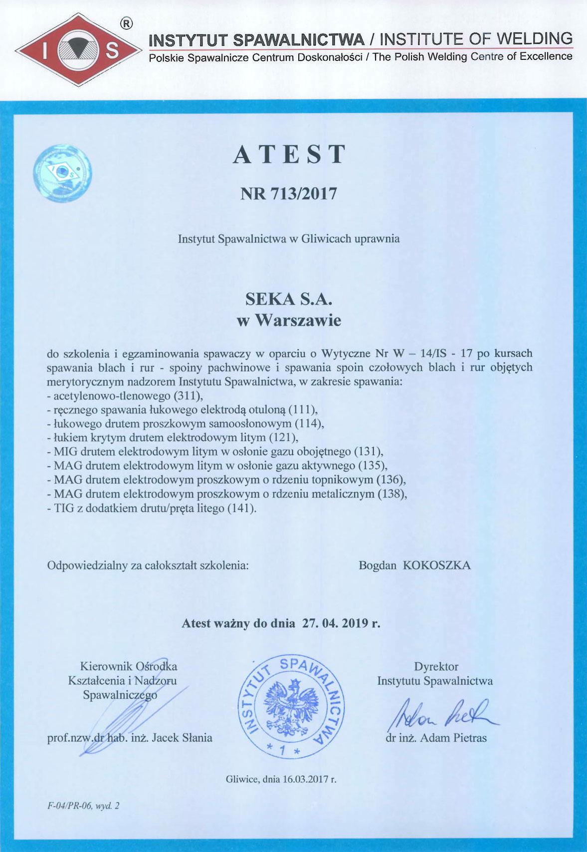 ATEST-INSTYTUTU-SPAWALNICTWA-SEKA-SA-kursy-spawania_warszawa_spawacz_spawalnictwo_szkolenia