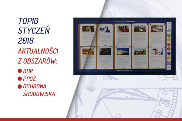 TOP10 AKTUALNOŚCI BHP, PPOŻ., OŚ. – STYCZEŃ 2018