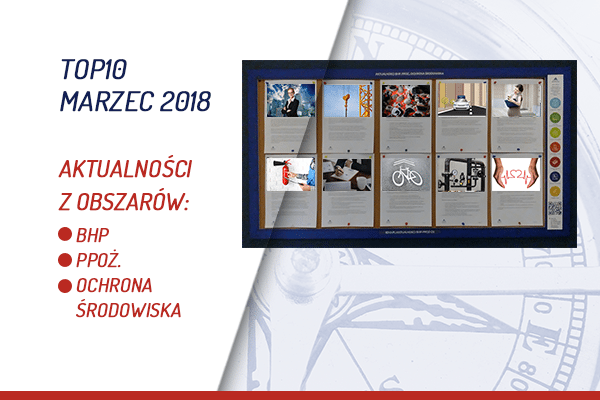TOP10 AKTUALNOŚCI BHP, PPOŻ., OŚ. – MARZEC 2018