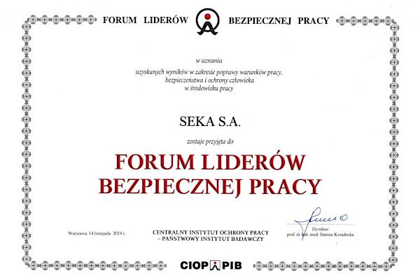 SEKA S.A. przyjęta do Forum Liderów Bezpiecznej Pracy