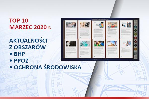 TOP10 AKTUALNOŚCI BHP, PPOŻ., OŚ. – Marzec 2020