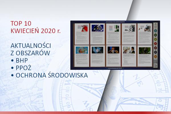 TOP10 AKTUALNOŚCI BHP, PPOŻ., OŚ. – Kwiecień 2020