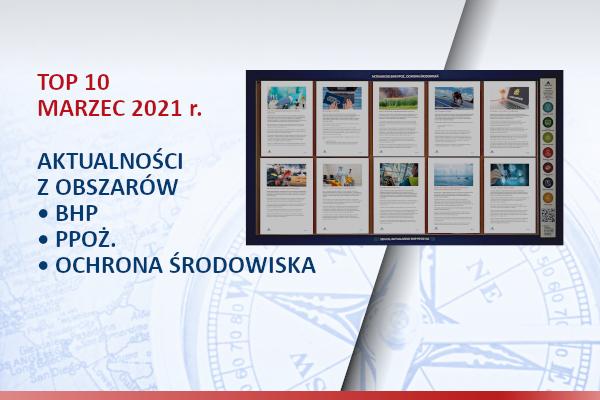 TOP10 AKTUALNOŚCI BHP, PPOŻ., OŚ. – marzec – 2021