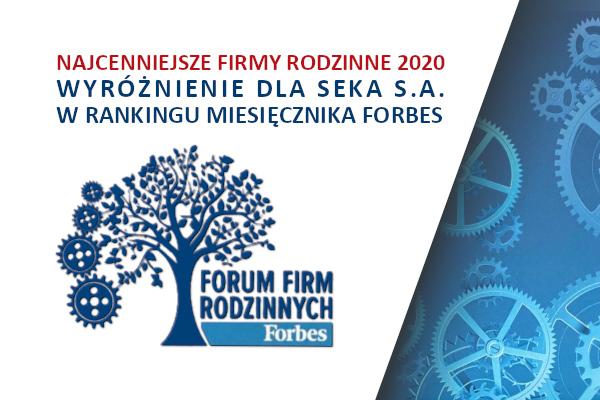 Wyróżnienie dla SEKA S.A. W rankingu miesięcznika Forbes